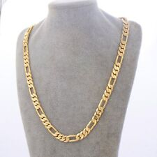 19.7'' Mens Boys Figaro Curb Necklace 24K Gold Plated Fashion jewelry