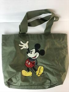 Mickey Mouse Tote Bag Olive Green Disney Sparkle Sequins Zipper Top Pouch