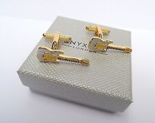 """GOLD & SILVER ELECTRIC GUITAR"" Metal Cuff Links in a Gift Box by ONYX ART-NEW"