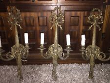 "23"" Double Arm Ribbon-bow Set Of FOUR cast Bronze French Style Theater Sconces"