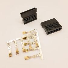 STRAIGHT SATA PC PSU POWER SUPPLY CONNECTOR - BLACK INC PINS - DIY - PK OF 2