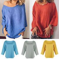 UK Women Cotton Linen Baggy Tops Loose Short Sleeve Casual T-Shirts Blouse Size