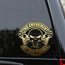 2ND AMENDMENT PUNISHER GUN NRA Car Truck Window Laptop Decal Sticker Hunting