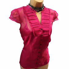 Monsoon Nella Plum Magenta SILK Frill Detail COCKTAIL BLOUSE SHIRT TOP 10 UK