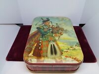 VTG COLLECTOR THORNES PREMIER TOFFEE TIN BOX LEEDS ENGLAND MAN PLAYING BAG PIPES