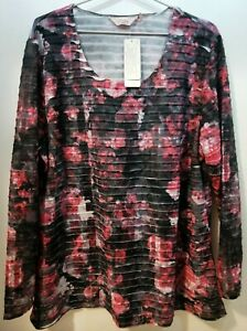 WOMENS L/S TEXTURED TOP BNWT'S - MILLERS/LIPSTICK FLORAL/SIZE 18