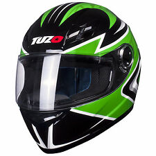 Tuzo Ghost Full Face Motorcycle Crash Helmet Green Large