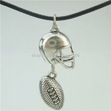 American Football Sports Ball Rugby Helmet Pendant Collar Short Necklace 16532