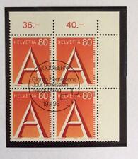 Bloc 4 timbres suisses YT CH1417, Zum:CH 838 oblitéré 1er jour