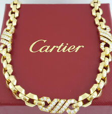 """Cartier 2.1 ct 18K Yellow Gold 750 Round Cut Diamonds Chain Link Necklace 16"""""""