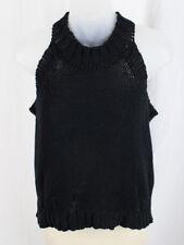 Monrow Women's Black Sleeveless Crew Neck Distressed Cropped Sweater Top Size S