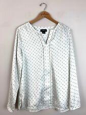 Liz Claiborne Career White Geometric Print Long Sleeve V-Neck Shirt Top Large L