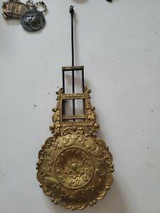 Vintage Clock Cast Iron Brass Pendulum Bob  French Style 10inch Parts Repairs