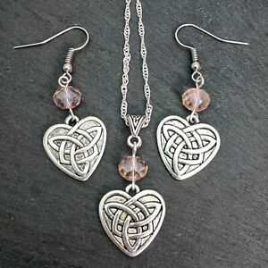 Antique Silver Tone & Pink Triquetra Celtic Knot Heart Necklace And Earrings Set
