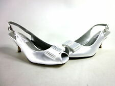 DYEABLES SHELLY WOMEN'S SLINGBACK PUMPS WHITE SATIN/LEATHER SOLE US SIZE 5.5 MED
