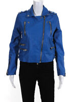 BLANKNYC Womens Zip Up Collared Leather Jacket Coat Top Blue Size Small
