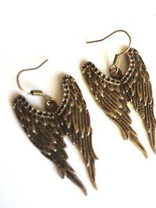 Antique Bronze Wing Charm Earrings