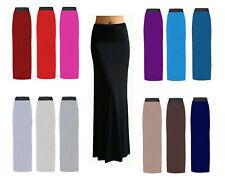 womens Plain Long Straight Gypsy Stretch Full Length Maxi Jersey Ladies Skirt