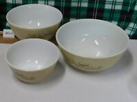 1 SET OF 3 PYREX NESTING MUSHROOM MIXING BOWLS FOREST FANCIES