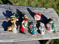Vintage Plastic Metal Ornament Pin Lot Reindeer Santa Snowman German Skier Elf