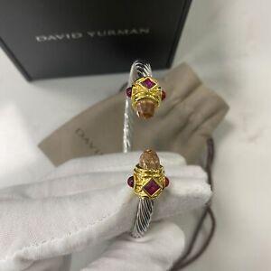 Davd Yurman Renaissance Bracelet with Citrine, Peridot & 925 silver Cable 5mm L