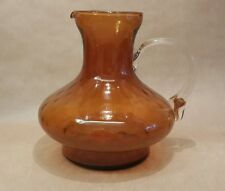 Mid Century Rossini Art Glass Jug Pitcher Amber Texture Applied Handle 60's