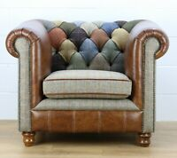 Harris Tweed patchwork Chesterfield armchair genuine leather