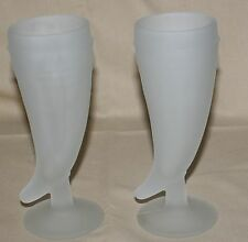 2 Tiara Powder Horn Frosted Pilsner Glasses Beer Heavy USA