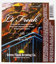Green Flash Brewing LE FREAK ALE beer label Vista  CA 22 oz