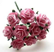 """20 Pink MULBERRY Paper Roses Artificial Flower Heads Wedding Card Craft Lot 0.6"""""""