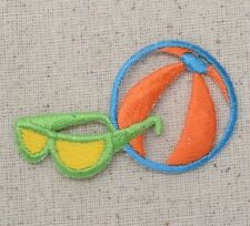 Iron On Embroidered Applique Patch Colorful Sunglasses and Beach Ball