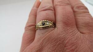 Victorian Design 9ct Yellow Gold Seed Pearl Sapphire Ring Size N & 1/2