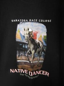 Saratoga Race Course Track Horse Native Dancer The Gray Ghost T Shirt Size L