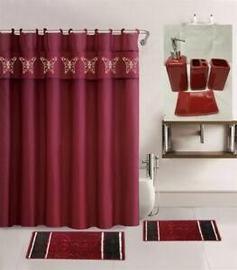 19PC PRINT BATHROOM SET 2 BATH MATS 1 SHOWER CURTAIN HOOKS 4PC CERAMIC ACESORIES