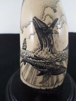 Whale Tooth IMITATION REPLICA  Scrimshaw Style Made w Resin Engraved w Whales