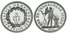 Zilveren Proof replica -  3 Gulden Bataafsch Gemeenebest .925 zilver, 31,1 gram