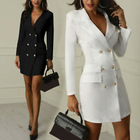 Women Short Slim Blazer Lapel V-neck Long Sleeve Double Breasted Dress Fashion