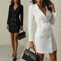 Women Short Slim Blazer Lapel V-neck Long Sleeve Double Breasted Dress Hot Sale