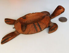 Wooden turtle ashtray sea animal ornament tortoise 6.5 inches long