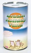 Dream Holiday Fund - Large 17.5cm Savings Tin Money Box Jar Holds upto £1000