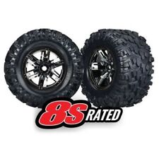 Traxxas 7772A X-Maxx 8S-Rated Tires Pre-Mounted on Black Chrome Wheels