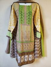 Pakistani 3pc Shalwar Kameez Cotton Linen Embroidery Women Medium Beige Green