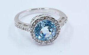 Pascal 2.75 Natural Topaz & Diamond Halo Ring in 18K White Gold