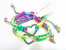 One Dozen Wholesale Colorful Best Friend Bracelets with Heart Charms #B1474-12
