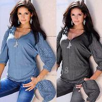 Fashion Womens Loose Tops Blouse  3/4 Sleeve Sexy V-Neck Lace Splice T-Shirt Top