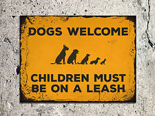 Vintage retro style Dogs welcome funny metal sign tin wall door plaque