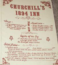 Vintage 70's CHURCHILL'S 1894 INN RESTAURANT Menu-TARRYTOWN NY-Classic Club 3.95