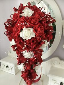 Bridal teardrop/shower bouquet in  Red and Ivory or white just ask