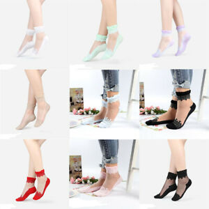 Summer Women Ultrathin Transparent Beautiful Silk Lace Elastic Short Socks