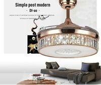 42'' Modern Ceiling Fan Light with Remote Control Crystal Rods Chandelier Fan